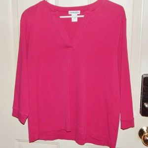 CHICO'S PINK 3/4 SLEEVE V-NECK TUNIC TOP
